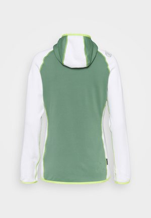 ALARIS HOODY - Fleecejas - grass green/white