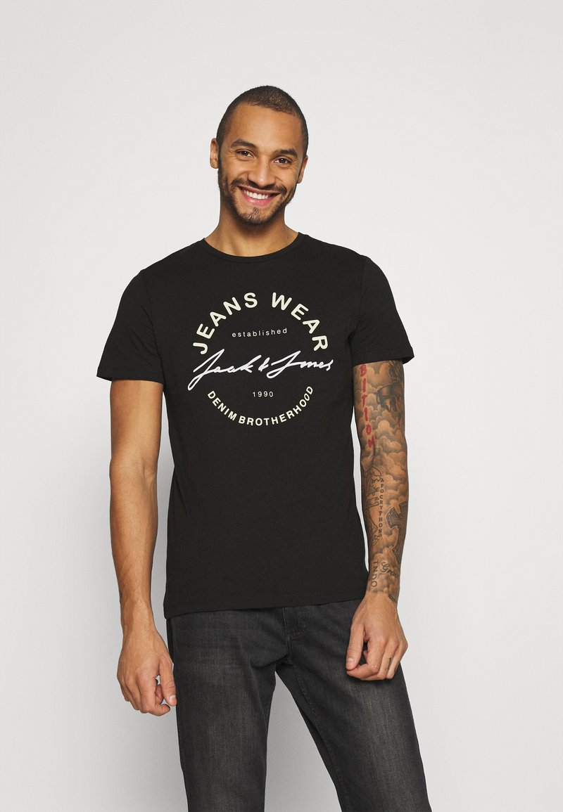 Jack & Jones - JJMOON TEE CREW NECK - T-shirt print - black