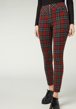 Leggings - Trousers - dark red tartan