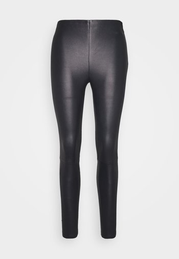 LENA  - Leather trousers - blue night