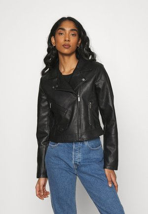 ONLENYA BIKER - Faux leather jacket - black