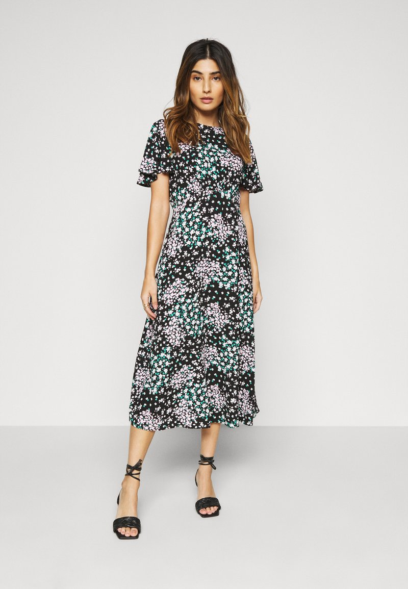 Dorothy Perkins Petite - DITSY EMPIRE SEAM MIDI DRESS - Kjole - black