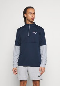 Nike Performance - NFL NEW ENGLAND PATRIOTS TEAM HALF ZIP THERMA - Club wear - college navy/wolf grey - 1