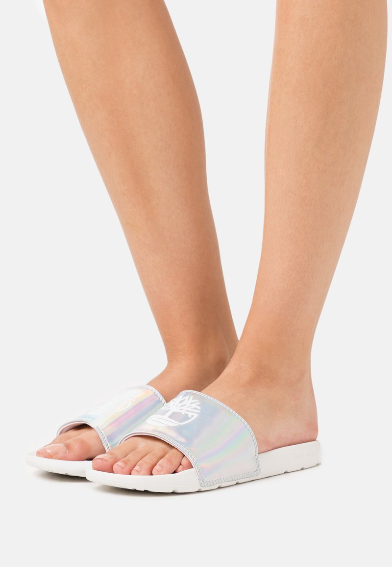 Timberland - PLAYA SANDS SPORT SLIDE - Mules - white/irredescent