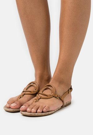 JERI - T-bar sandals - light saddle/stone