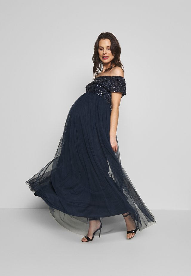 OFF SHOULDER DELICATE SEQUIN DRESS - Abito da sera - navy