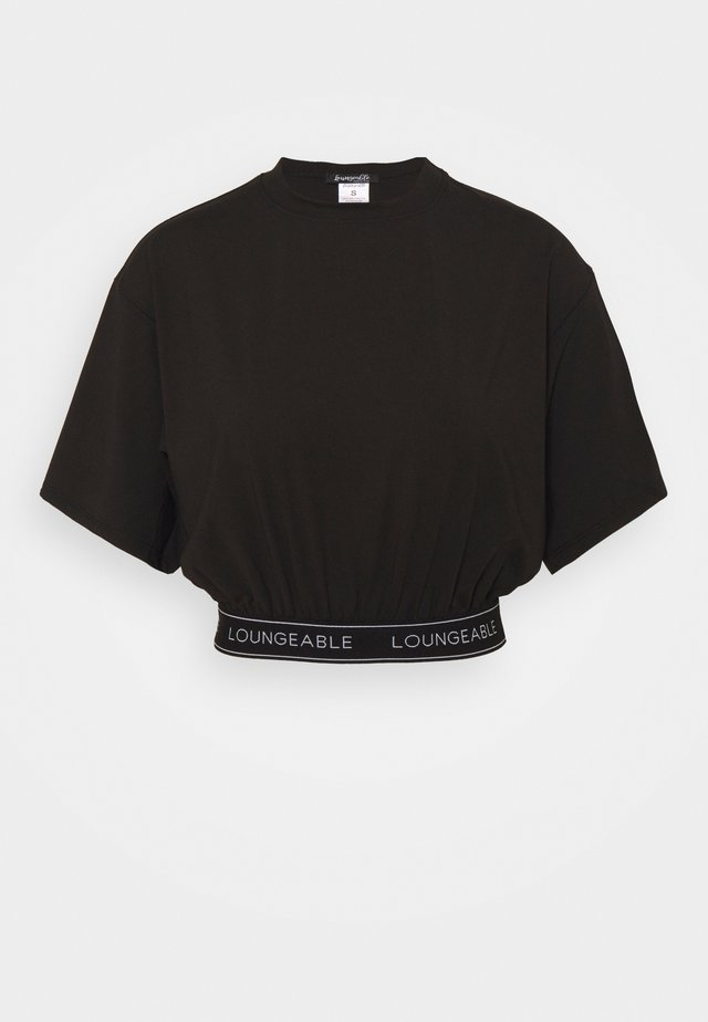BAGGY LOUNGE TOP WITH SHORT SLEEVE AND LOGO - Haut de pyjama - black