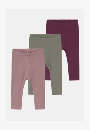 NBFROSEMARIE 3 PACK - Leggings - shadow/italian plum/deauville