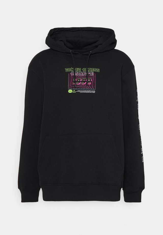 FRONT BACK SLEEVE GRAPHIC HOODY UNISEX - Sweatshirt - black