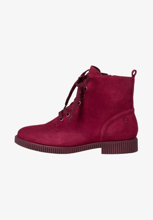 Lace-up ankle boots - dark scarlet