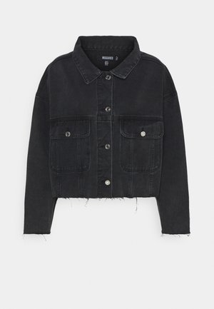 PLEAT BACK OVERSIZED 80S JACKET - Denim jacket - black