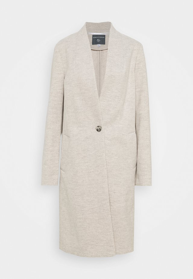 COLLARLESS UNLINED COAT - Mantel - oatmeal