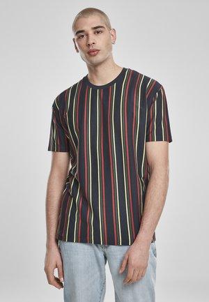 T-SHIRT PRINTED OVERSIZED RETRO STRIPE TEE - Print T-shirt - midnightnavy/burnedred