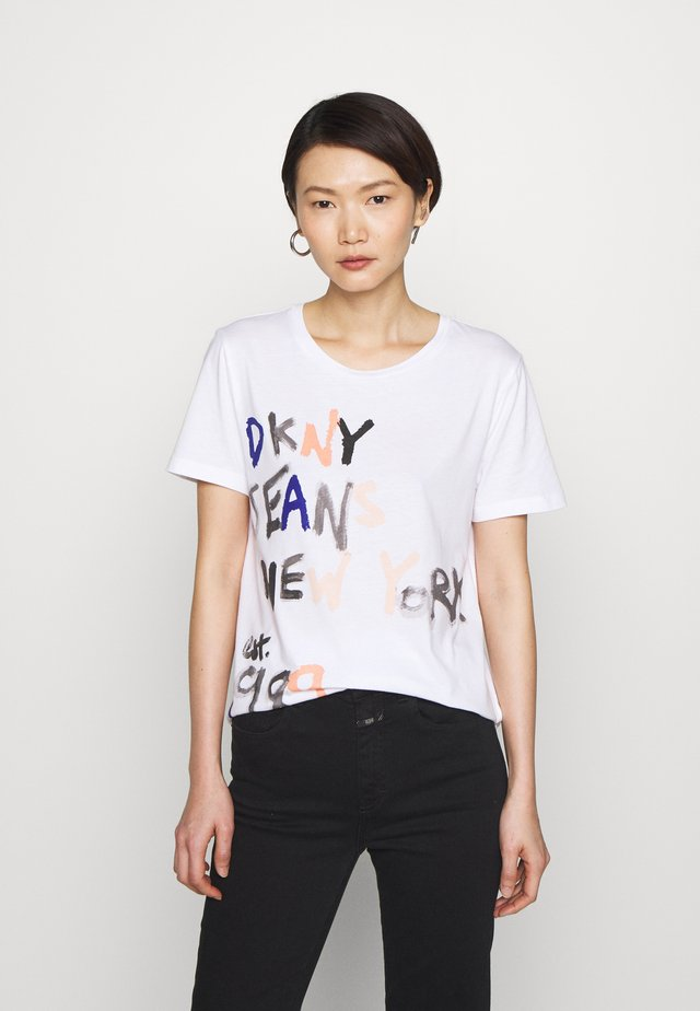 JEANS PAINTED LOGO - T-shirt print - white/bellini/ink