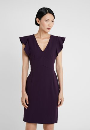 RUFFLE CAP SLEEVE SHEATH - Shift dress - aubergine