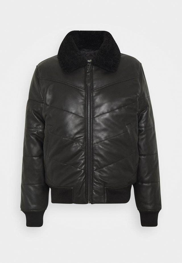 DOWN - Leather jacket - black