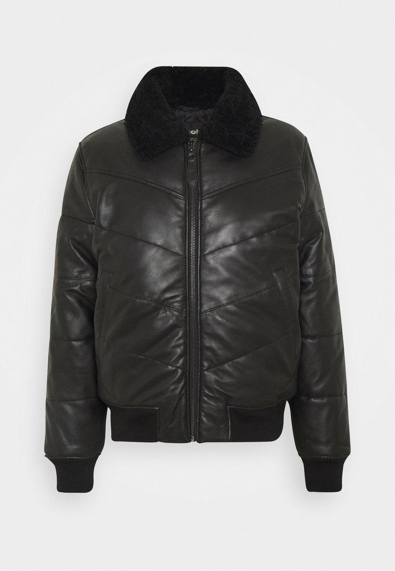 Schott - DOWN - Leather jacket - black