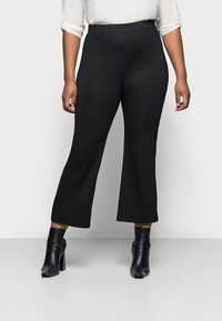 Even&Odd Curvy - Flared PUNTO trousers - Spodnie materiałowe - black - 0