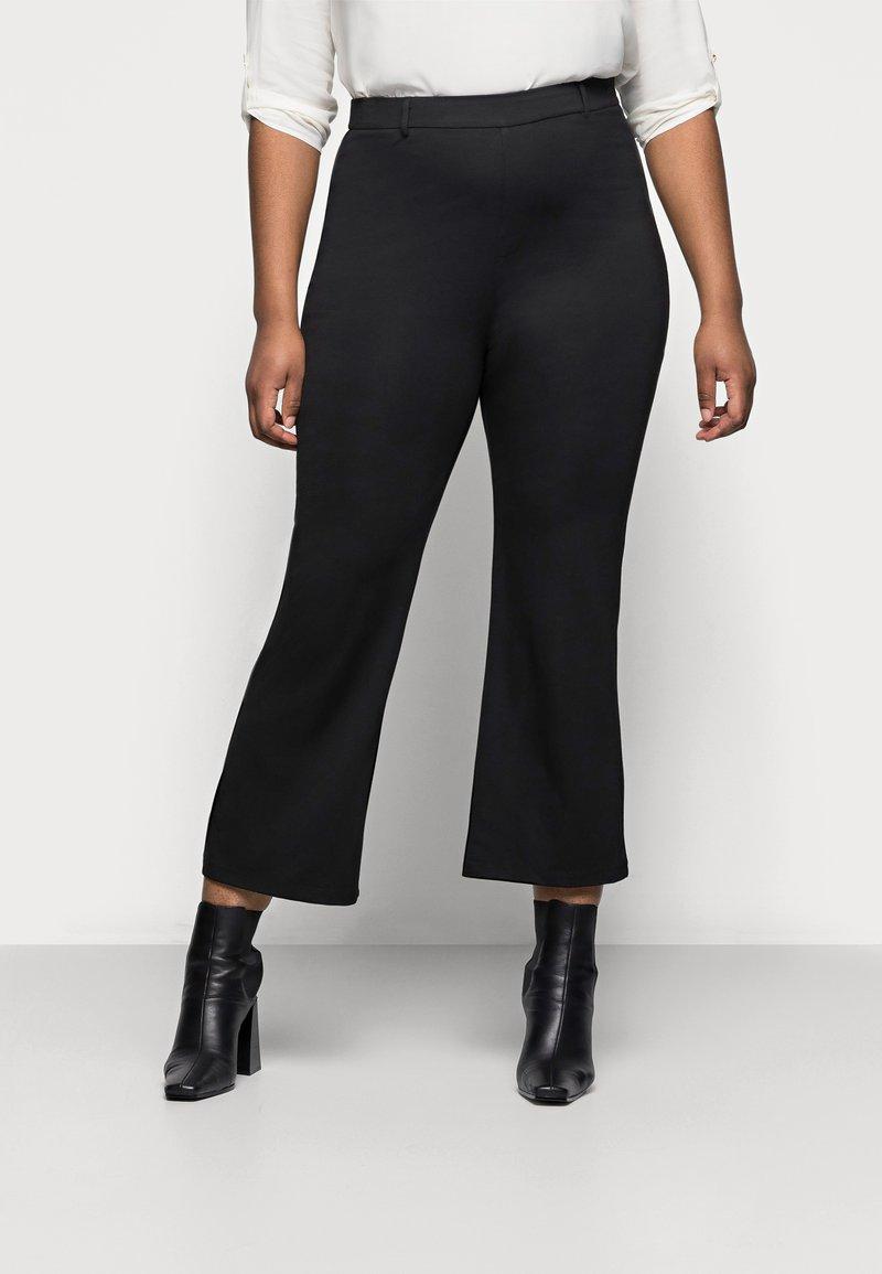 Even&Odd Curvy - Flared PUNTO trousers - Spodnie materiałowe - black