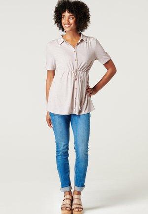 Button-down blouse - oatmeal melange