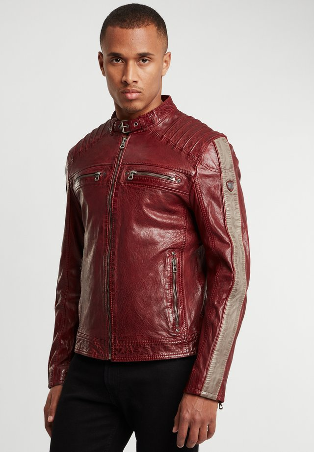Leren jas - oxred/taupe