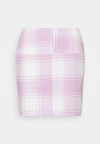 CHECK SKIRT - Mini skirt - pink