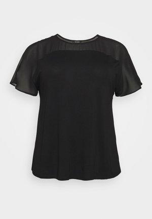 SHEER YOKE  - Print T-shirt - black