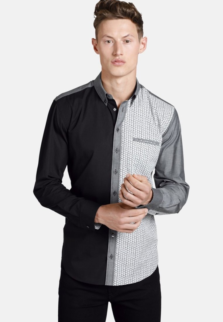 SHIRTMASTER - BLACKGREYANDDOTS - Chemise - gray black patterned