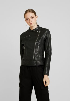 GLUON BIKER SLIM - Leather jacket - black
