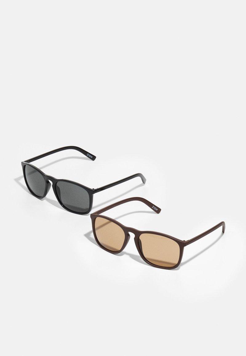 Zign - UNISEX 2 PACK - Lunettes de soleil - black/brown