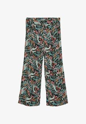 MIT WEITEM BEIN 7/8 BLATTPRINT - Trousers - black