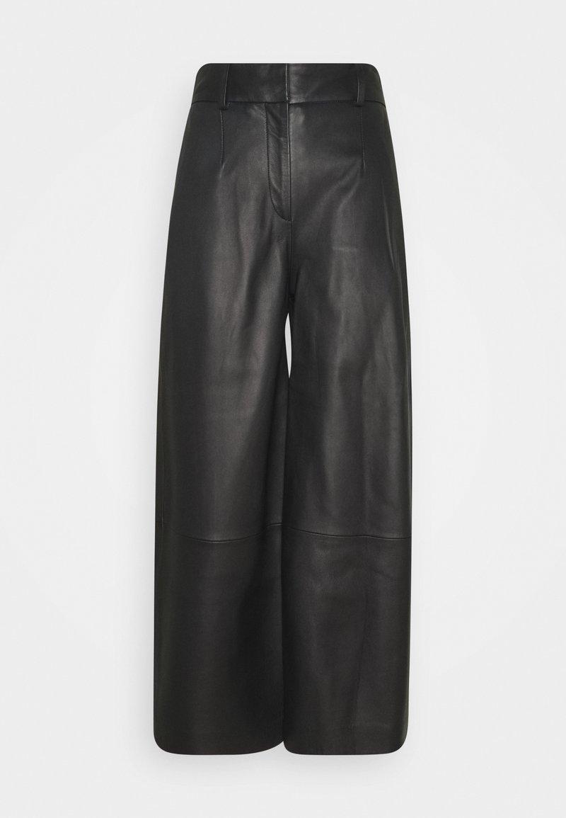 IVY & OAK - CULOTTE - Leather trousers - black