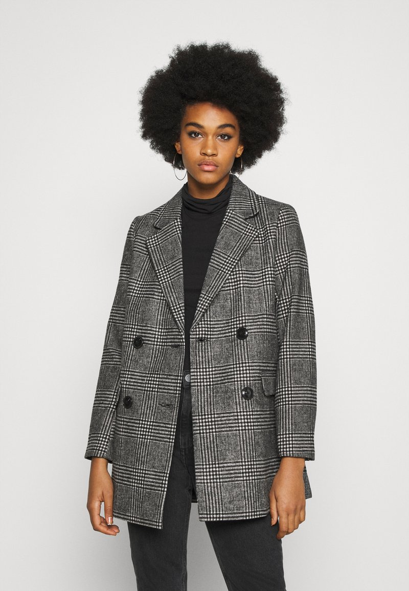 New Look - EMMA CHECK COAT - Short coat - grey