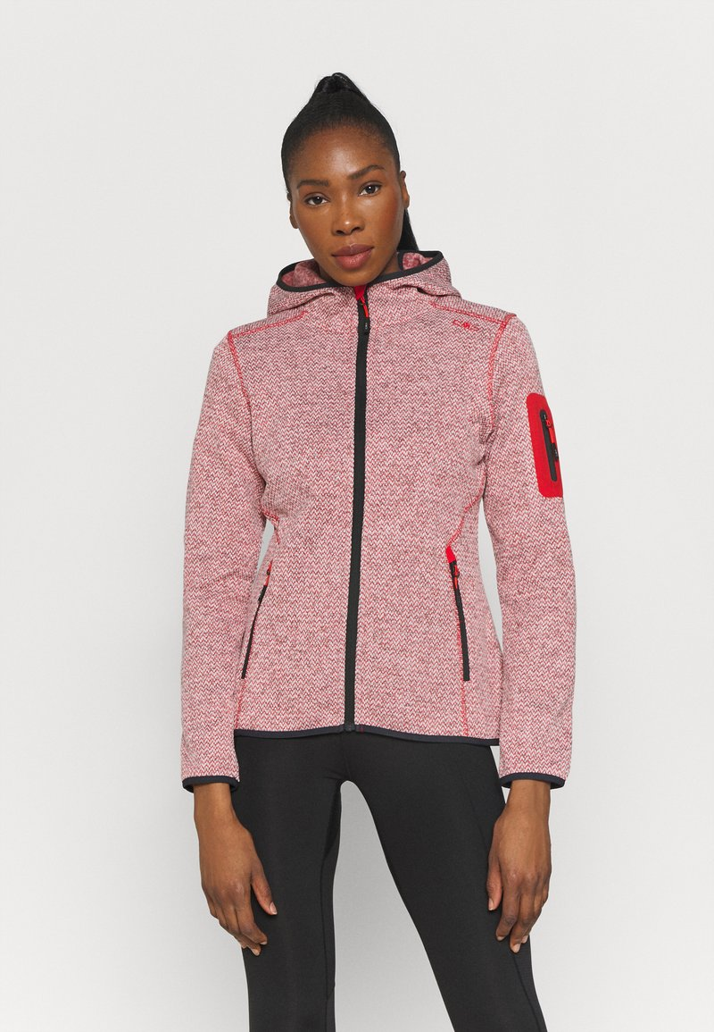 Campagnolo - WOMAN FIX HOOD JACKET - Giacca in pile - grenadine/bianco