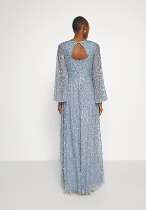 LONG BELL SLEEVE ALL OVER DRESS WITH CUT OUT BACK - Gallakjole - dusty blue