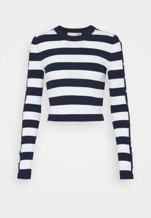 CROP STRIPE - Jumper - dark blue