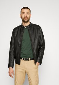 Selected Homme - SLHICONIC RACER - Leather jacket - black - 0