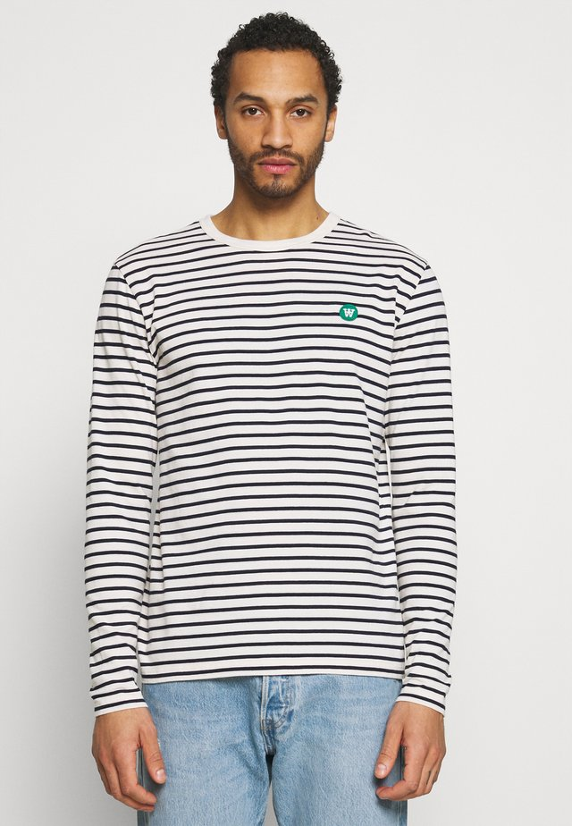 Topper langermet - off white/navy stripes