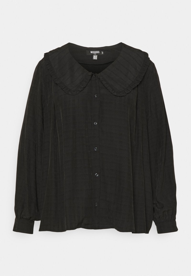 Missguided Plus - PLUS EXAGGERATED COLLAR SHIRT - Blouse - black