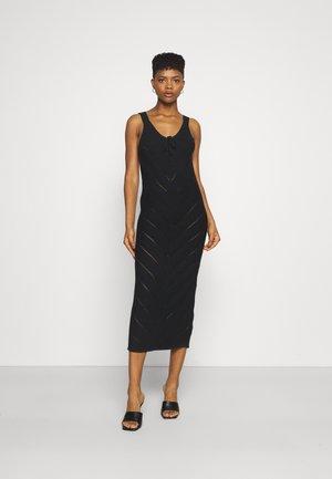 TIE FRONT MIDAXI CROCHET DRESS - Jumper dress - black