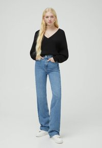 PULL&BEAR - HIGH WAIST - Straight leg -farkut - blue - 1