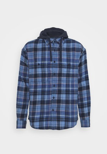 LONE PLAID HOODED - Camisa - blue