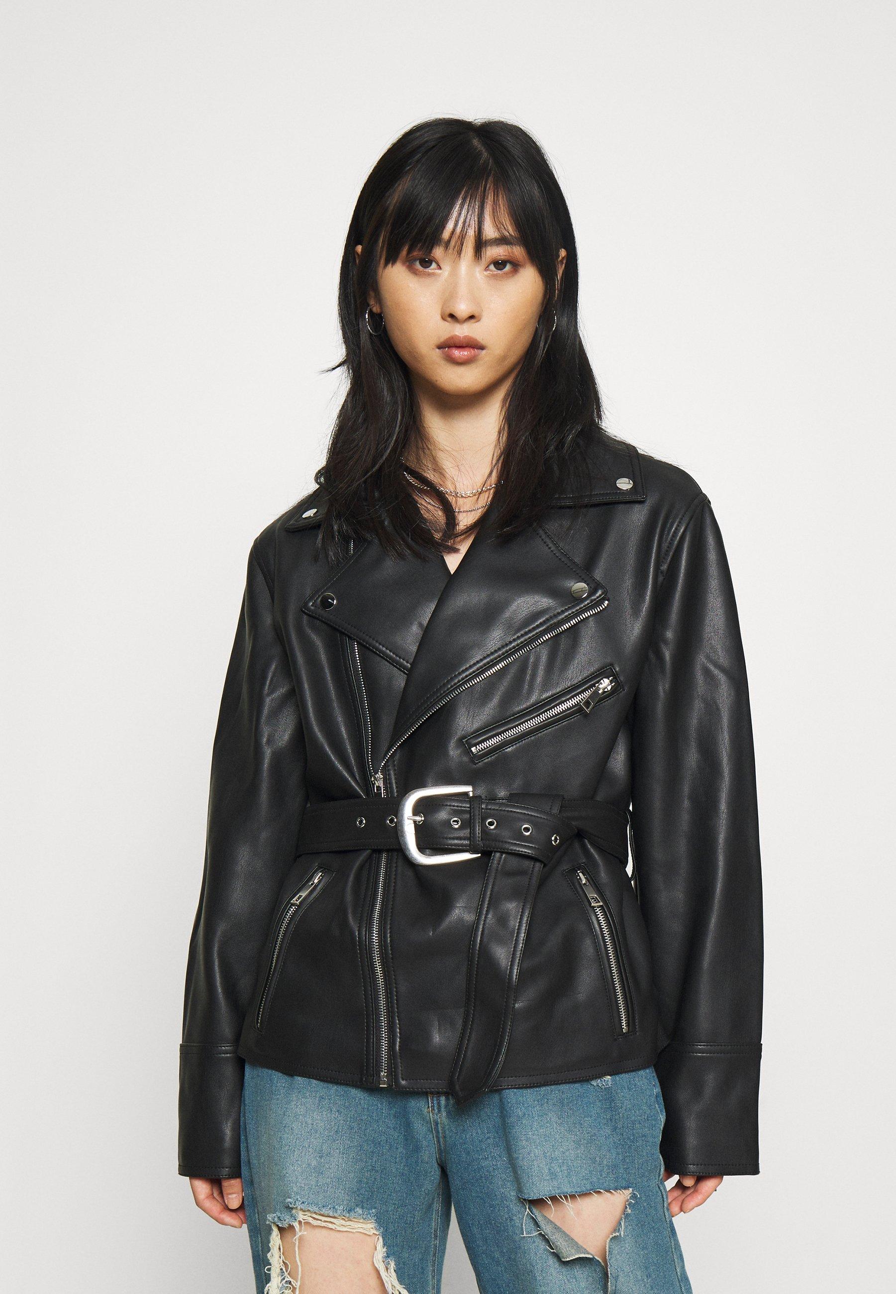 Women BELTED WAIST BIKER - Faux leather jacket