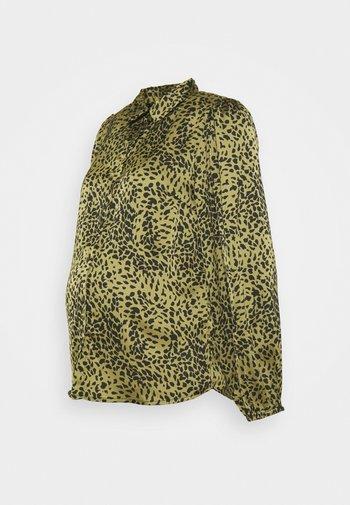 PCMDANNI - Button-down blouse - black/olive