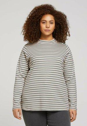 Longsleeve - cold beige mint stripe