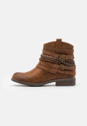 Cowboy/biker ankle boot - brown