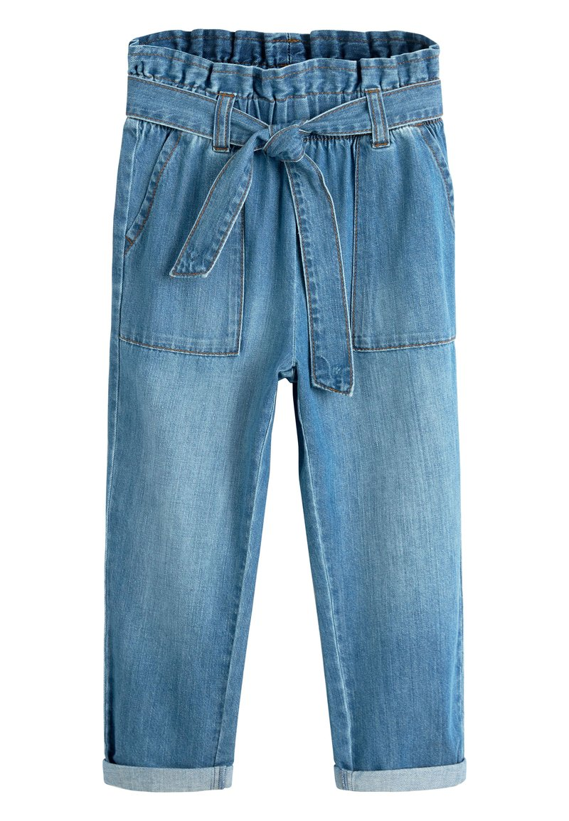 Next - CHARCOAL PAPERBAG TIE WAIST JEANS (3-16YRS) - Relaxed fit jeans - blue