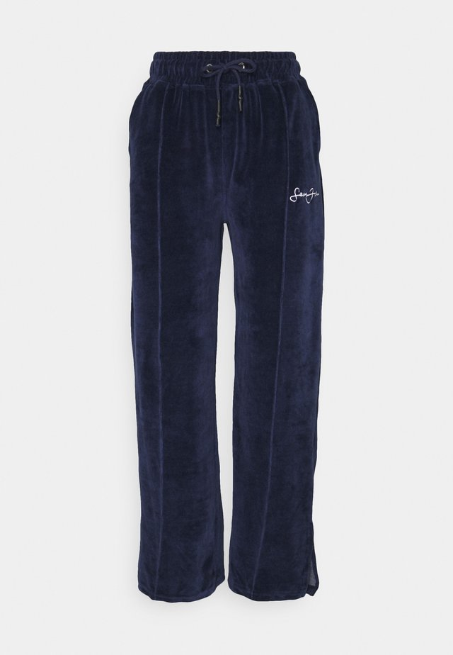 WIDE LEG TROUSERS - Tracksuit bottoms - navy