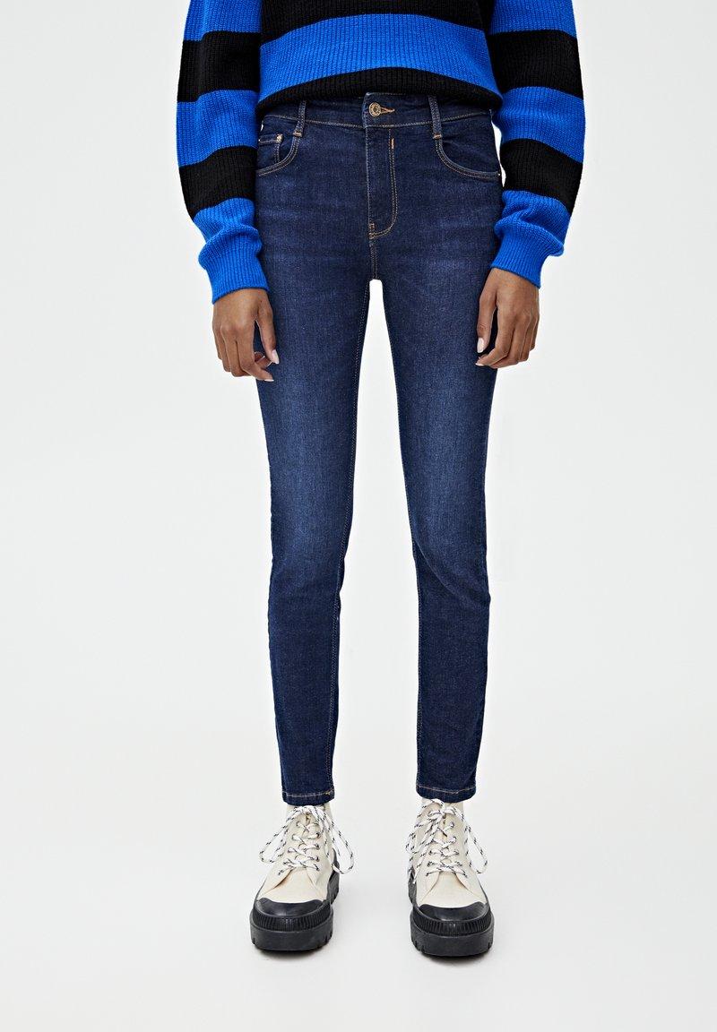PULL&BEAR - PUSH UP - Jeans Skinny Fit - mottled dark blue