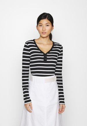 FAV HENLEY - Long sleeved top - black/white